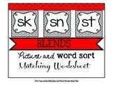 Blends Packet Bundle Word Picture Sort Center Matching Worksheet SN ST SK