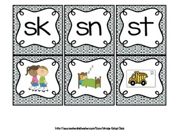 Blends Packet Bundle Word Picture Sort Center Matching Worksheet SN ST SK