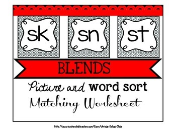 Blends Packet Bundle Word Picture Sort Center Matching Wor