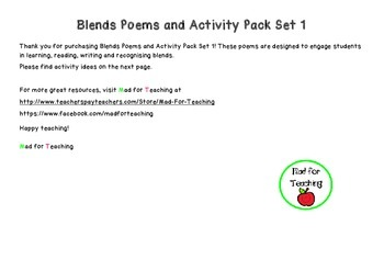 Blends Poems and Activity Pack Set 1