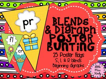 Blends & Digraphs Poster Flag Bunting Display Phonics