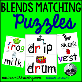 Blends Puzzle Matching, 30 Words