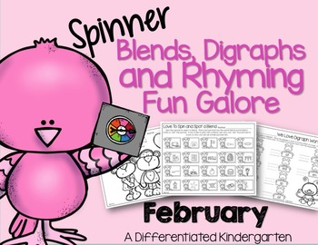 Blends, Rhymes and Digraph Spinner Fun for February-Differentiated and Aligned