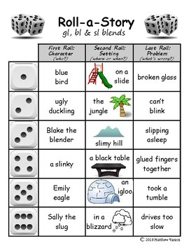 Blends Roll-A-Story (+2 Bonus digraph pages)