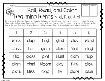 Blends- Roll, Read, and Color
