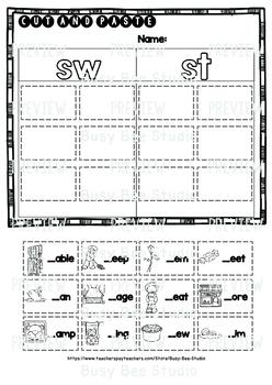Blends -S- Sorts (sc, sk, sn, sm, sw, st, sp,sl) | Cut and Paste Worksheets