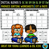 Blends -S- Sorts (sc, sk, sn, sm, sw, st, sp,sl) | Cut and Paste Worksheets
