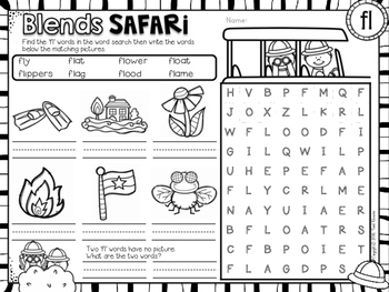 Blends Safari! Phonics Word Search Puzzles