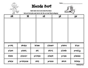Blends Sort - sk, bl, cl, pl, pr