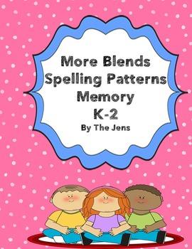 More Blends Spelling patterns Memory K-2 (***BONUS*** Bingo)