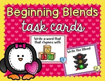 Blends Task Cards - Valentines Day