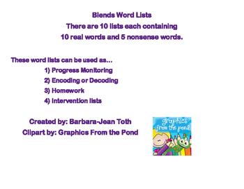 Blends Word Lists
