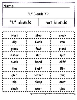 Beginning Blends Word Sort - Cut & Paste - Differentiated