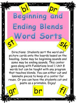 Phonics level 1 unit 8: Blends Word Sorts