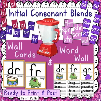 Initial Consonant Blends - Word Wall and Wall Cards
