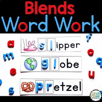 Blend Word Work Cards & Vocabulary Cards for Literacy Activities