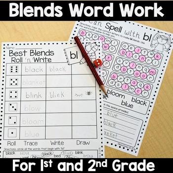 Blends Word Work (Grade 1-2) No Prep!