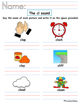 Blends Worksheet - cl and cr sound