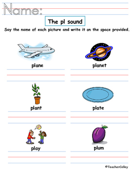 Blends Worksheet - pl and pr sound