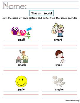 Blends Worksheet - sl and sm sound