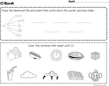 Blends Worksheets - S, L and R blends