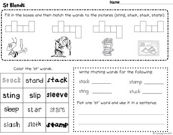 Blends Worksheets for S, L and R blends