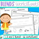 Blends Worksheets for S, L and R blends