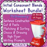 Initial Consonant Blends -Worksheet Bundle - Multisensory