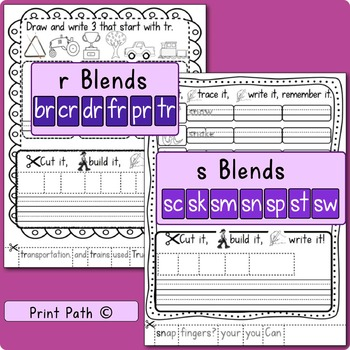 Initial Consonant Blends - Worksheet Package - Multisensory