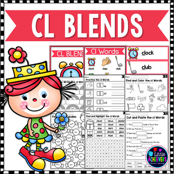 L Blends Worksheets Cl Blend Words By Little Achievers Tpt