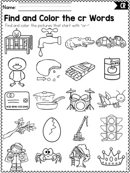 R Blends Worksheets - Cr Blend Words by Little Achievers | TpT