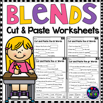 Blends Worksheets Cut and Paste Activities