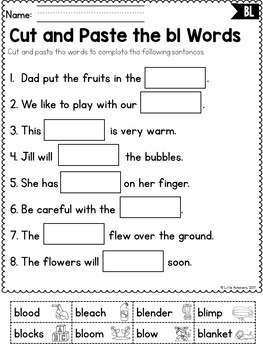 Blends Cut and Paste | L, R, and S Blends Worksheets