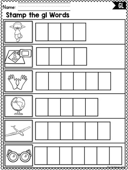 L Blends Worksheets - Gl Blend Words