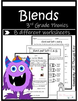 Blends Worksheets NO PREP Packet 3rd Grade Phonics