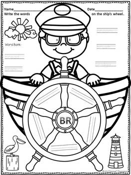 """Write the Words on Ship's Wheel """"L, R, and S Blends"""" (Blends Worksheets)"""
