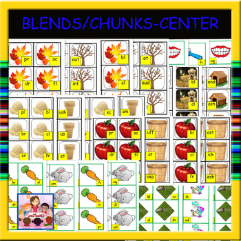Blends and Chunks Literacy Center Task Cards (160 cards)