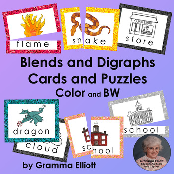 Blends and Digraph Vocabulary Cards and Puzzles in Color and BW
