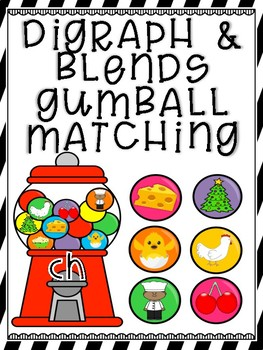 Blends and Digraph Gum Ball Search and Find Match Up Cards