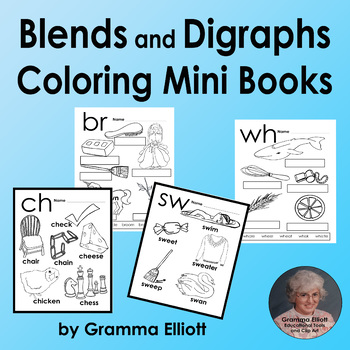 Blends and Digraph Mini Books - BW - Coloring Pages - Low Prep