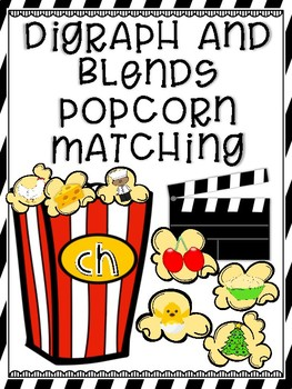 Blends and Digraph Popcorn Search and Find Match Up Cards