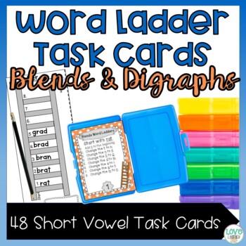Blends and Digraphs Word Ladder Task Cards