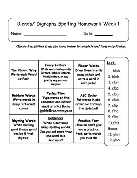 Phonics: Blends and Digraphs 6 Week Word Work 2nd, 3rd grade