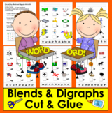 Blends and Digraphs Cut and Glue - Center Cards or Workshe