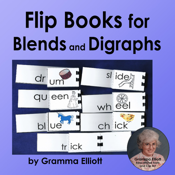 Blends and Digraphs Phonics Flip Books in BW and Color