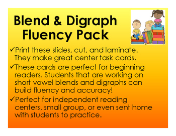 Blends and Digraphs Fluency Pack