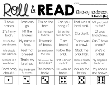 Blends and Digraphs Fluency Roll & Read Sentences