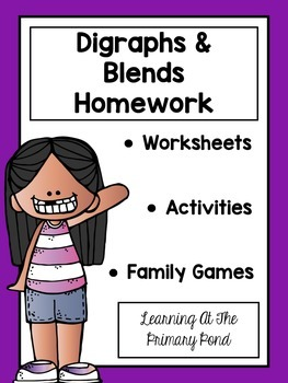 Blends and Digraphs Worksheets and Family Literacy Games