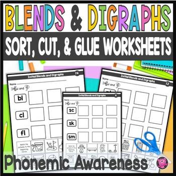 Kindergarten Cut Sort Glue Worksheets for Blends and Digraphs