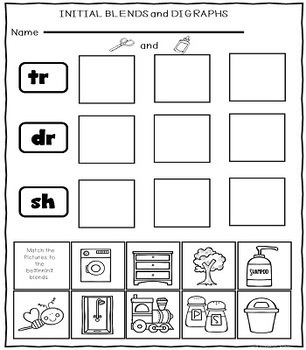 Blends and Digraphs Cut and Paste Worksheets